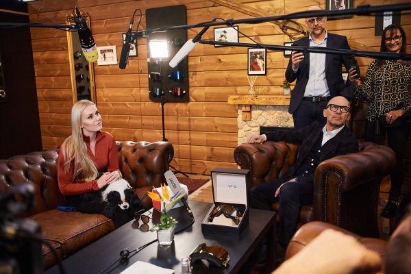 Lindsey Vonn and Klaus Dittrich at ISPO Munich 2020 at the YNIQ booth