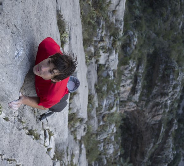 Alex Honnold stands for climbing free solo.