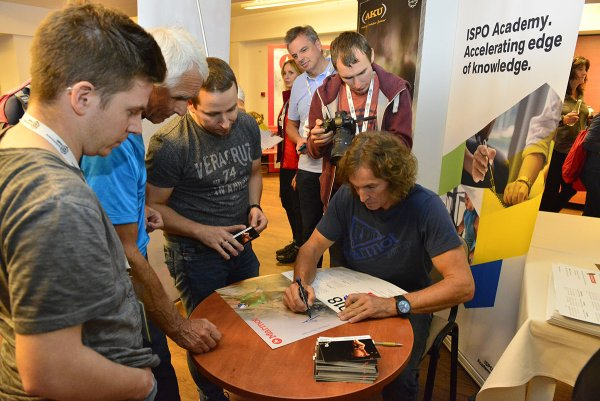 His autographs were in demand. Stefan Glowacz, Marmot Ambassador.  His lecture was an highlight of the ISPO Academy Poland.
