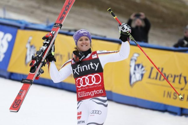 Viktoria Rebensburg celebrates her World Cup victory in Killington