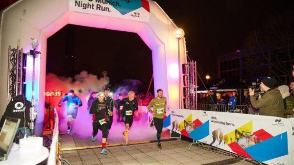 ISPO Night Run 2018: Long distance runner Sebastian Hallmann at the start over 10,000 meters.