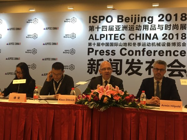 The ISPO Beijing kick-off press conference with Klaus Dittrich, Chairman of the Board of Management of Messe München GmbH (2nd from right).