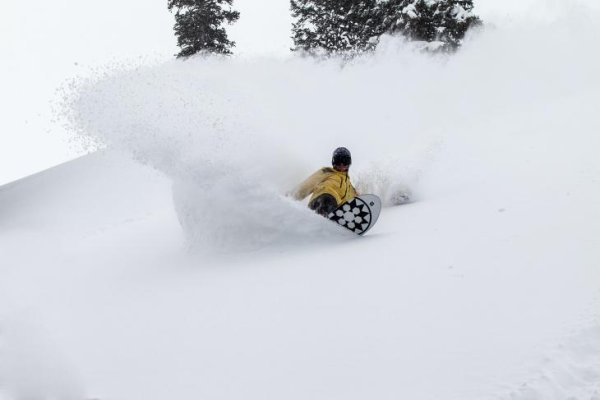 Deep powder - a snowboarder's dream.