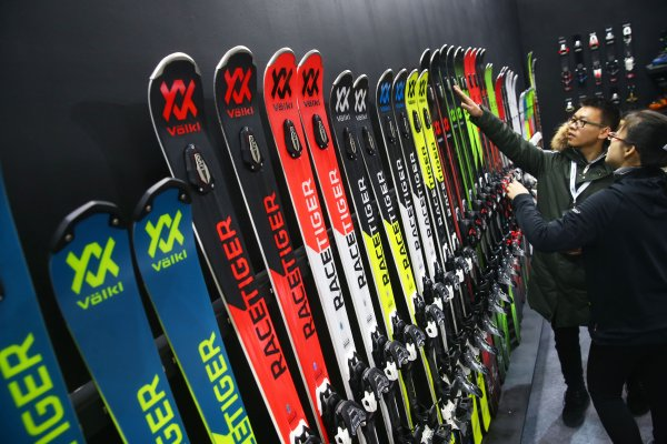 In high demand: Ski products at ISPO Beijing.