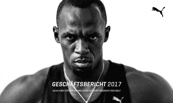 "Puma and Usain Bolt present the ""world's fastest annual report""."