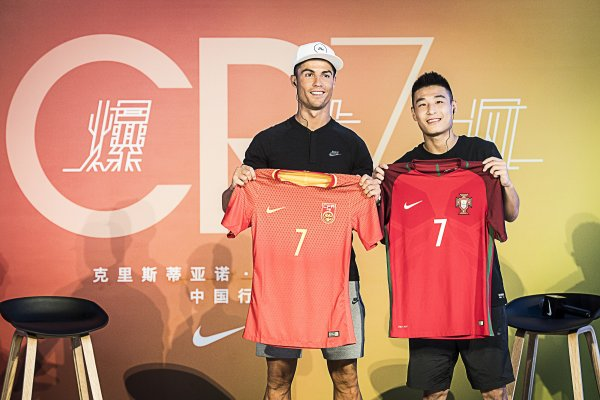The Portuguese football superstar Cristiano Ronaldo (left) is sponsored by Nike.