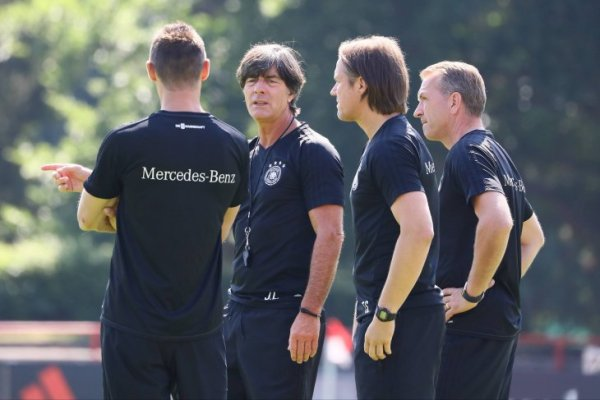 German national coach Joachim Löw (2nd from left) talking to parts of his coaching staff