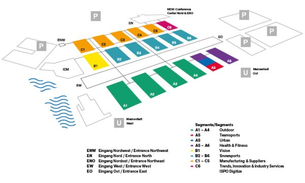 Ispo munich 2019 hall plan overview ispo map of ispo munich 2019 with entrances and parking spaces ccuart Image collections