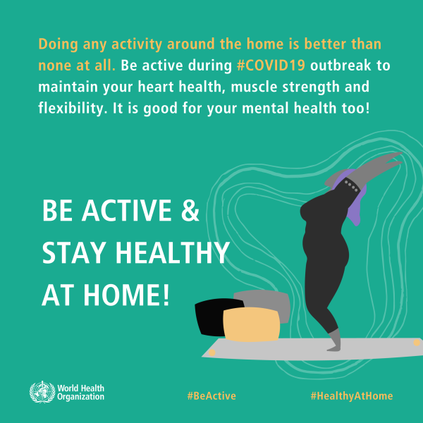 With the #HealthyAtHome campaign, the WHO promotes physical and mental fitness at home.