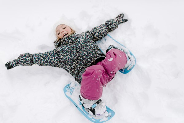 Snowshoeing can be done by any child without any special knowledge.