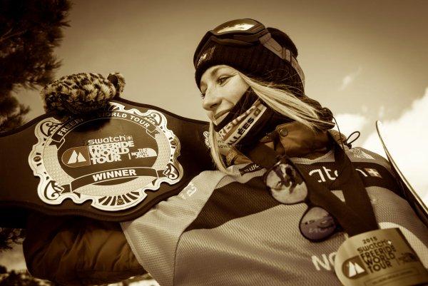 Estelle Balet celebrated her World Champion title at the 2015 Freeride World Tour