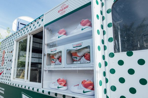 Kyrie Irving's signature shoe in the Krispy Kreme colors