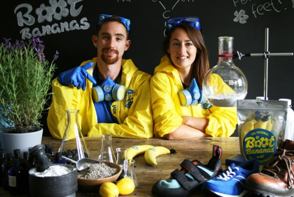 The founders of Boot Bananas: Alexandra Bowers and Philip Osband from England.
