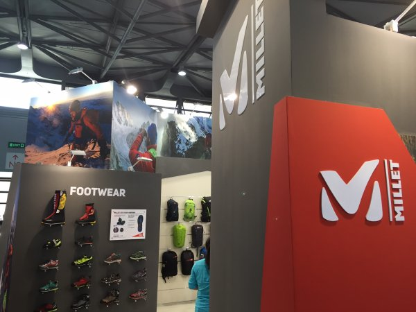 Millet, the technical outdoor brand from France, is back in the Chinese market: Millet's booth at ISPO SHANGHAI 2016.