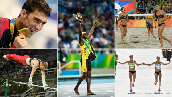 Highlights from Rio 2016: Michael Phelps (upper left) crowns his Olympic Career, Fabian Hambüchen (lower left) gets the gold medal in horizontal bar, Usain Bolt (center) makes Puma proud, Laura Ludwig and Kira Walkenhorst (upper right) scupper Brazil's chances for a gold in volleyball and the Hahner Twins (lower right) cause outrage.