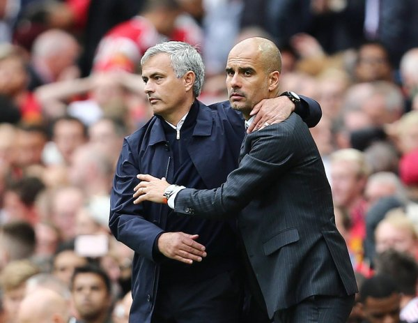 Jose Mourinho and Pep Guardiola at the Manchester derby