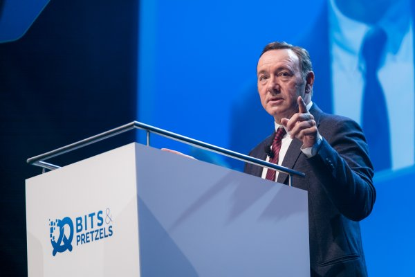Kevin Spacey held the opening keynote speech at Bits & Pretzels.