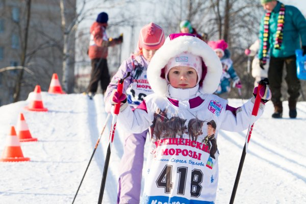Children all over the world love snow. Here, a girl cross-country skiing in Russia.