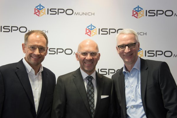 Participants at the main press conference of ISPO MUNICH 2017: Kim Roether, chief of executive board at Intersport, Klaus Dittrich, chairman of the management of Messe München and Roland Auschel, member of the management board of Adidas Group.