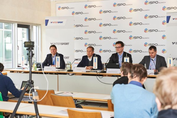 The Intersport press conference with Hannes Rumer, Kim Roether, Michael Steinhauser and Jochen Schnell (l. to r.).