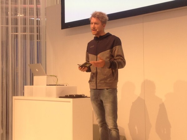Nils Frommhold on the Health and Fitness stage of ISPO MUNICH.