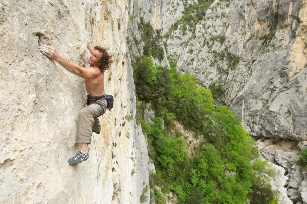 On the road across the world: Here, Stefan Glowacz climbs France's Gorges Du Verdon.