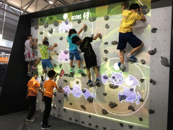 Augmented reality animates children to try out climbing