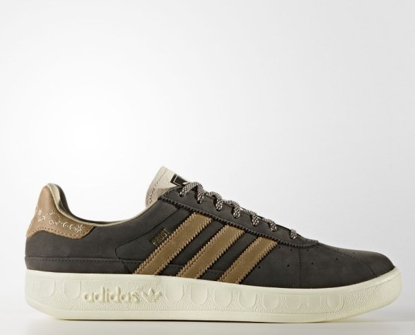 Meant to protect against rainstorms and beer: The leather of the Oktoberfest sneakers by Adidas.