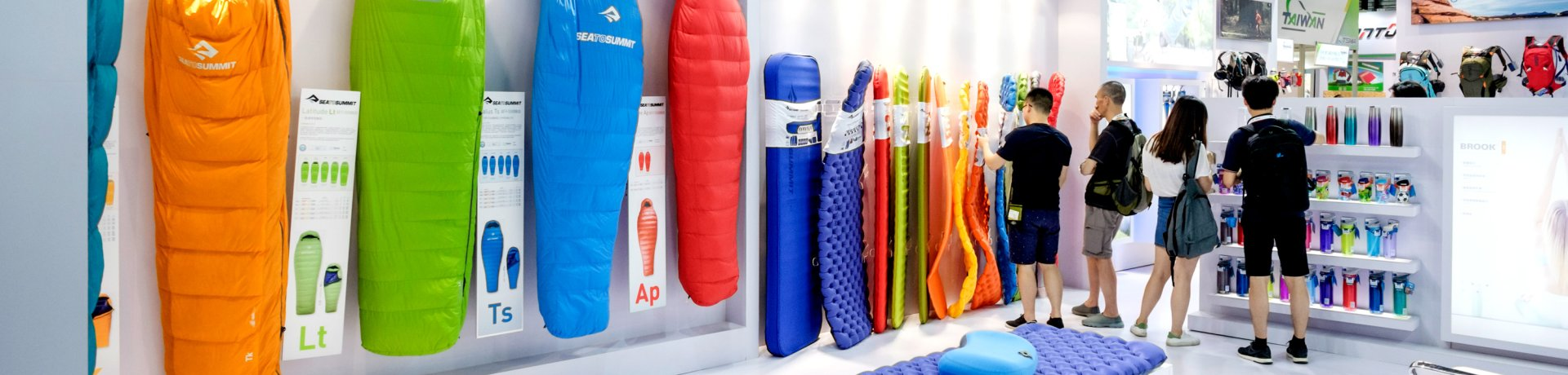 Sleeping bags on an exhibition booth