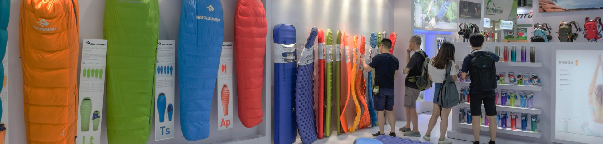 Exhibitor booth with sleeping bags at ISPO Shanghai