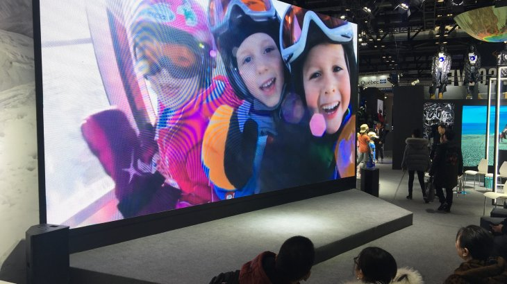 The inofficial award for the biggest LCD-screen goes definitely to Toread. The screen at the booth of the Chinesese outdoor company is bigger than some of the other booths in total.