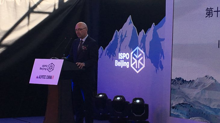 Klaus Dittrich, CEO of the Messe Munich, with his speech at the Opening Ceremony of the  ISPO Beijing 2018