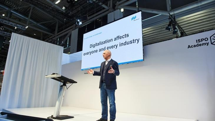 Trade fair boss Klaus Dittrich at the Adidas Symposium on the ISPO Digitize stage