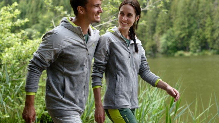 100% Eco: The thermofleece mid layer from Vaude is made from biodegradable microparticles.