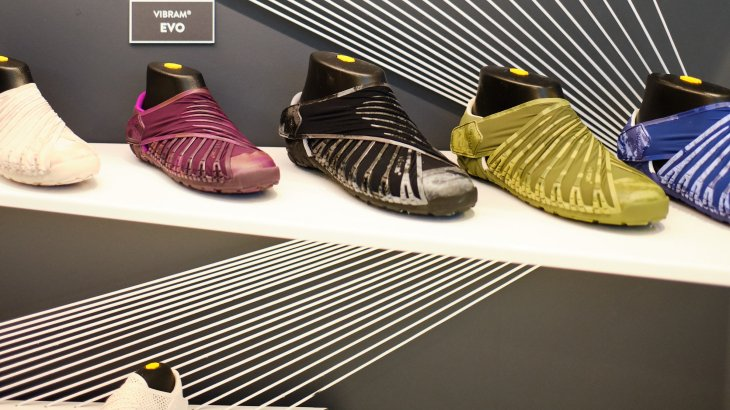 The sole manufacturer Vibram is also represented with a stand.