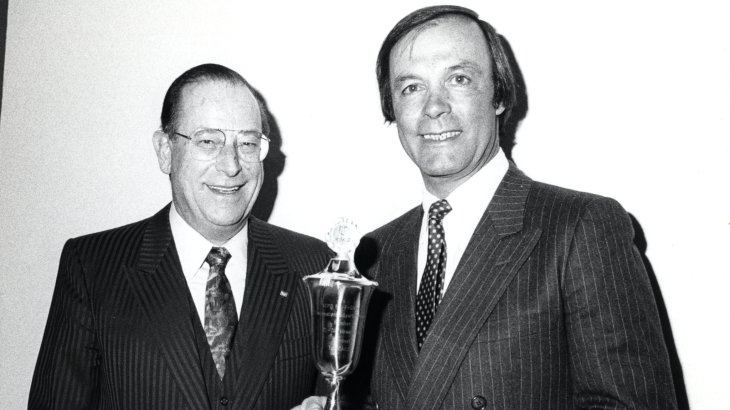 In 1985 Austria's probably most famous ski racer Toni Sailer (*1935 † 24. August 2009) received an ISPO trophy. Toni Sailer (to the right) was not only the bearer of three Olympic gold medals, won at the 1956 Winter Olympics in Cortina D'Ampezzo and seven World Champion titles. He also worked as an actor and singer. The premium sports brand Toni Sailer, founded in 2004, is named after him.
