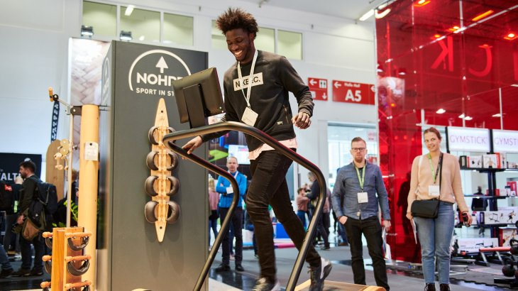 ISPO Munich 2020 - Testing Treadmills at the Nohrd booth in hall A6