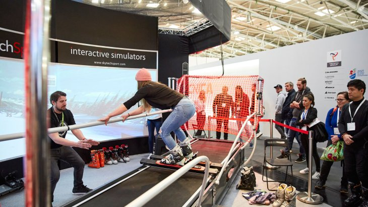 Ski and snowboard simulators can be tried out at SkyTechSport booth.