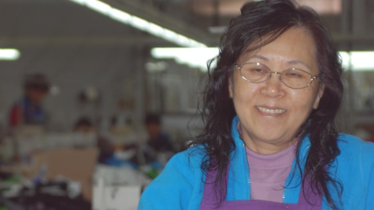 A worker in the KTC-factory
