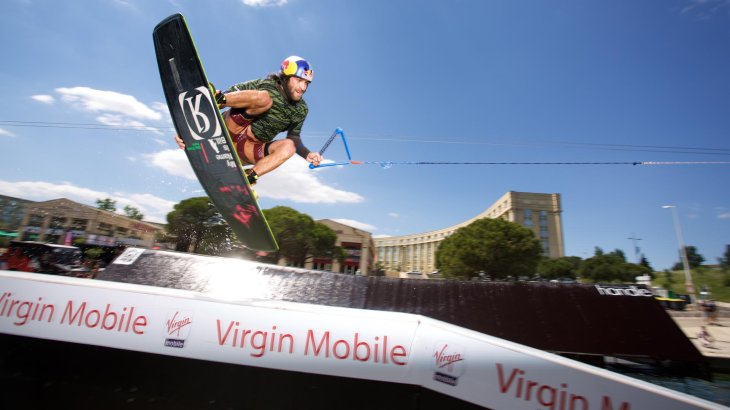 It will be wet when the wakeboarders flying over the ramps at the FISE World Series.