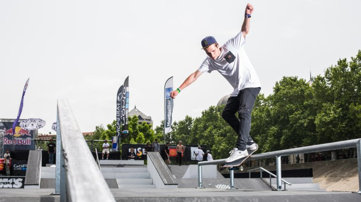 The cool guys on their skateboards are part of the FISE World Series.