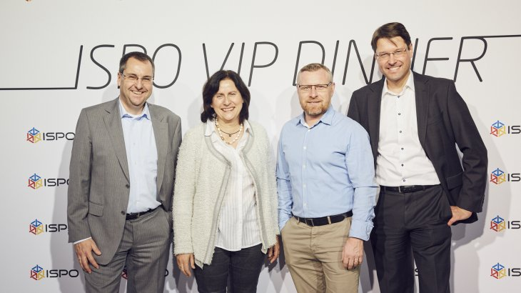 Jochen Schnell (Vorstand Intersport), Waltraud Lenhart (Geschäftsführerin Leki Lenhardt), Markus Milbrandt (Head of Marketing Leki Lenhardt) und Hannes Rumer (Vorstand Intersport)