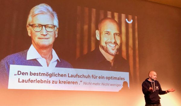 "Andre Kriwet, here lecturing at the running symposium at ISPO Munich 2019, and his co-founder Professor Gerd-Peter Brüggemann focus on ""quality instead of quantity""."