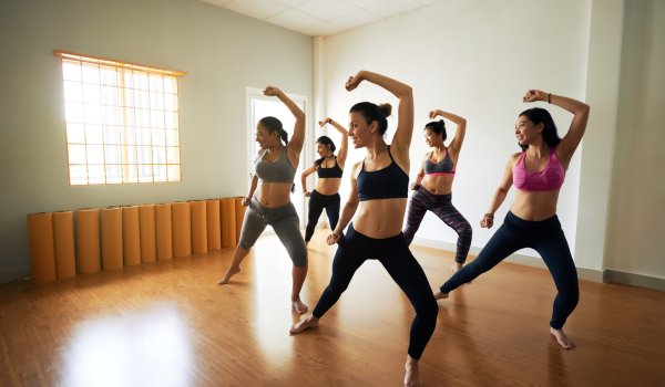 Yoga dance combines the traditional postures of yoga with rhythm and music.