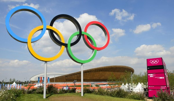 The Olympic rings at the 2012 London games