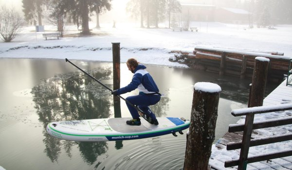 Mario Stecher tests the first bombrop on the slightly frozen Heiterwanger See