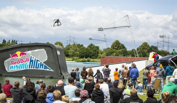 These cool guys fly with their boards over giant ramps at the Munich Mash in Munich's Olympic Park.