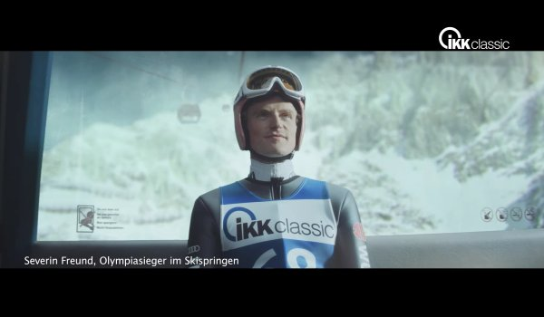 The insurance company ikk Classic is one of Severin Freund's two official sponsors. The company shot a TV ad with Freund. Their logo can be seen on his ski.
