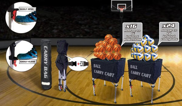 Ball carts for basketball and volleyball.