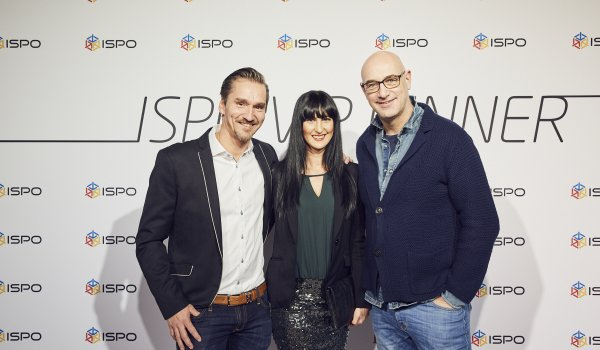 Markus Hefter (exhibition group director ISPO), Alessandra Hefter and Dietmar Axt (CEO Mustang).